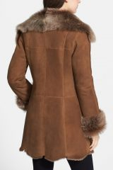 Womens Suede Leather Faux Fur Coat