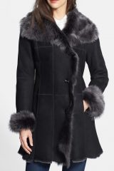 Womens Suede Leather Shearling Coat