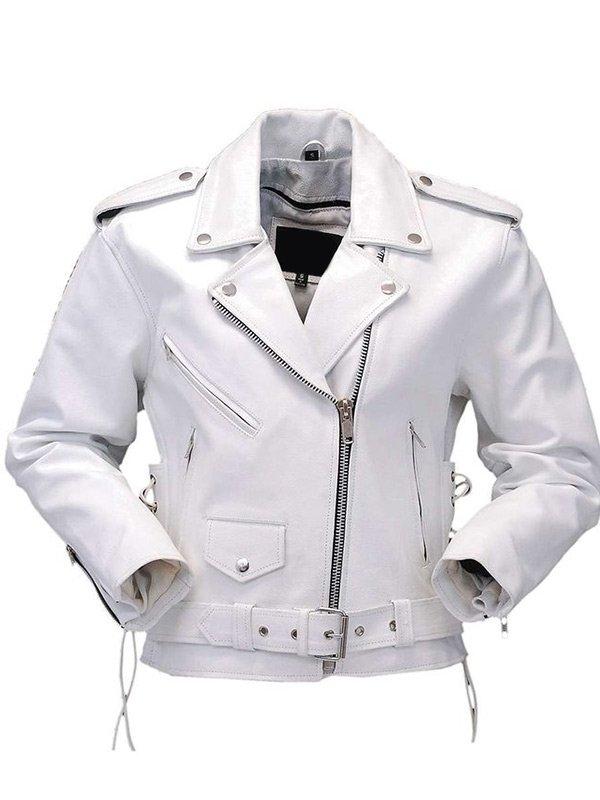 Womens White Motorcycle Leather Jacket