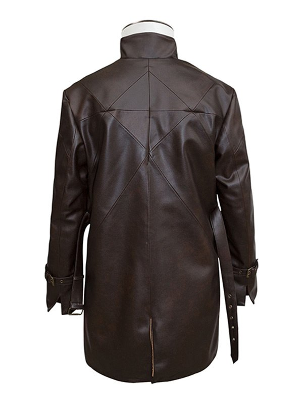 Watch Dogs Game Aiden Pearce Mid Length Brown Leather Coat