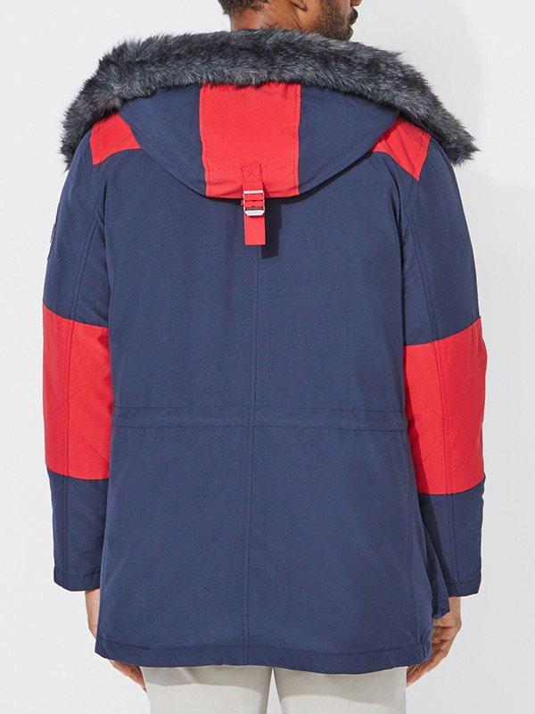 Hooded Shaelng Blue Parka Jacket For Mens