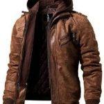 Mens Hooded Bomber Leather Jacket
