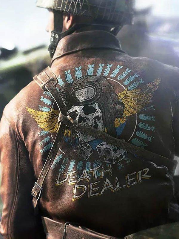 Video Game Battlefield 5 Death Dealer Leather Bomber Skull Jacket