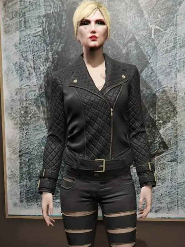 Video Game GTA 6 Female Protagonist Quilted Black Leather Jacket