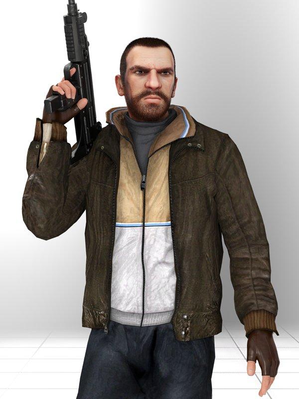 Video Game GTA Grand Theft Auto 6 Niko Bellic Brown Leather Bomber Jacket