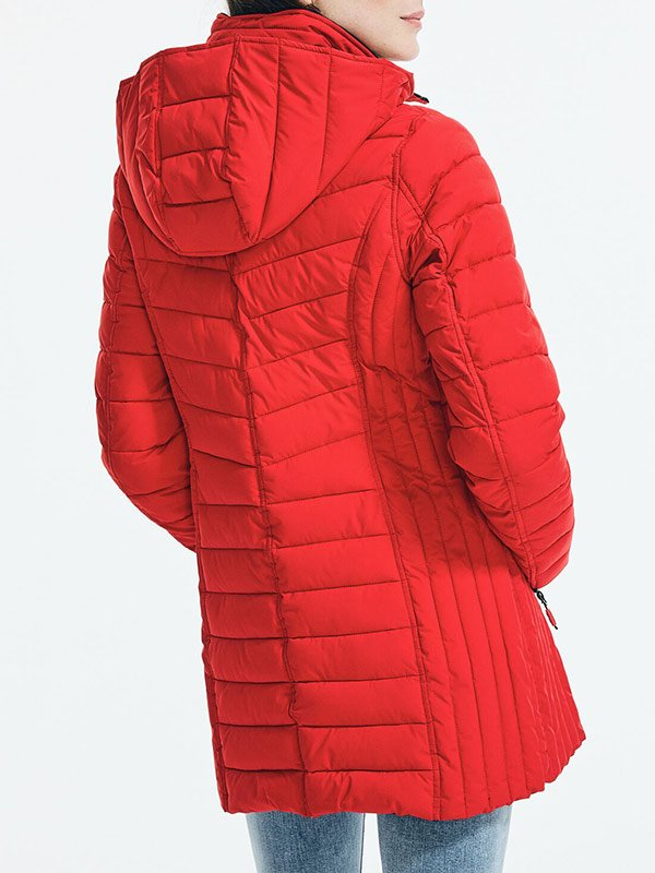 Womens Quilted Red Coat With Hood