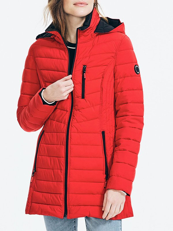 Womens Red Quilted CoatWomens Red Quilted Coat