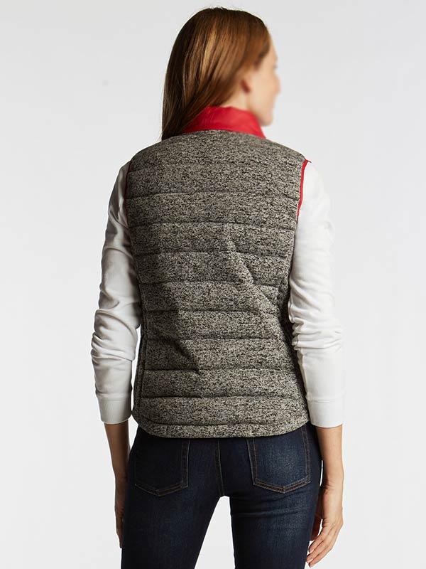 Womens Standing collar Red & Grey Puffer Vest