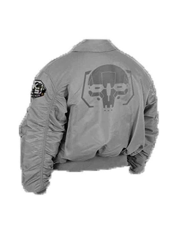 Battletech Mechwarrior Flight Grey Bomber Jacket