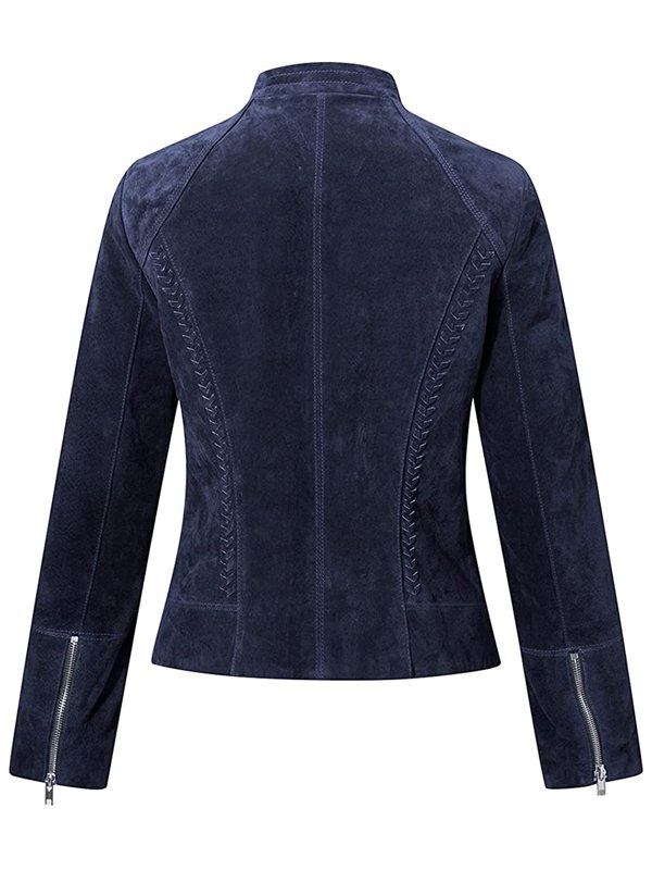 Blue Suede Motorcycle Leather Jacket Women