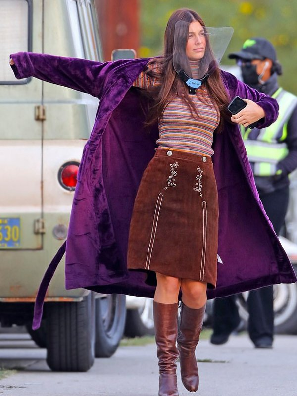 Daisy Jones & The Six Camila Morrone Purple Coat
