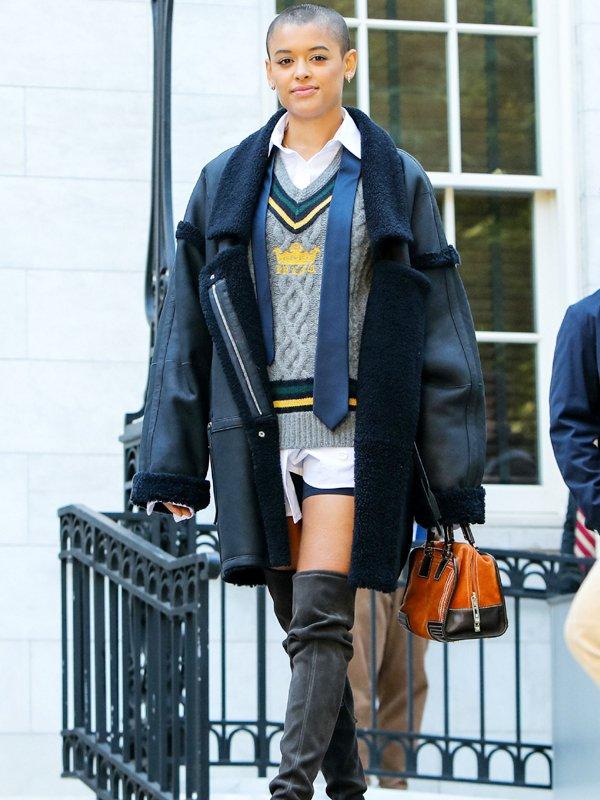 Gossip Girl Julien Calloway Shearling Leather Coat