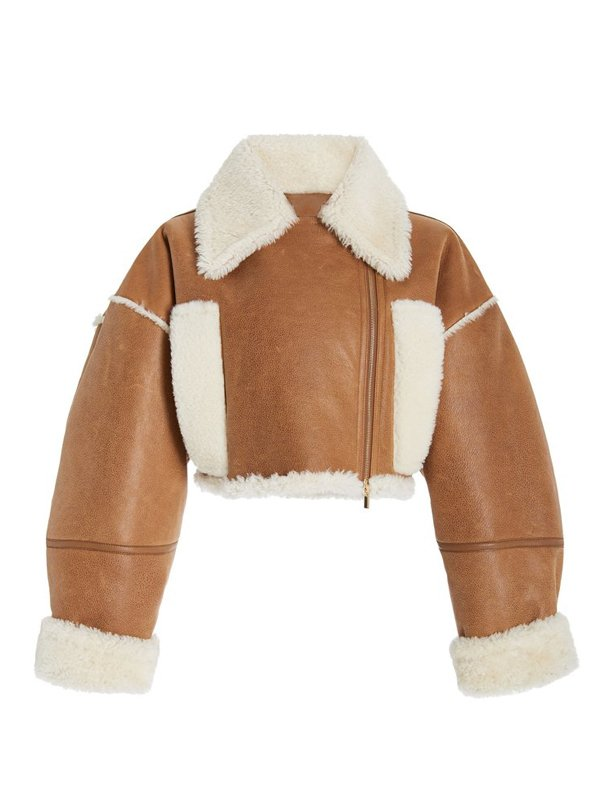 Hailey Bieber Brown Cropped Faux Fur Leather Jacket