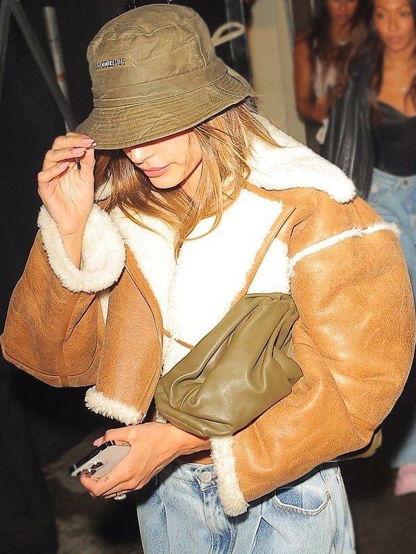 Hailey Bieber Cropped Fur Jacket