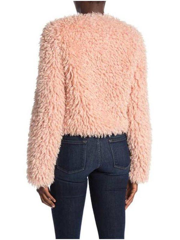 Laya DeLeon Hayes The Equalizer Delilah McCall Pink Fur Jacket