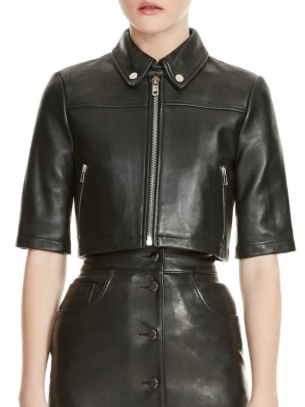Liza Lapira The Equalizer Melody Bayani Cropped Black Leather Jacket