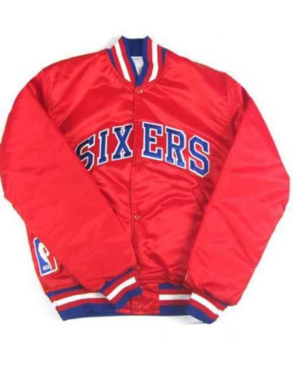 Philadelphia Sixers NBA Red Bomber Jacket