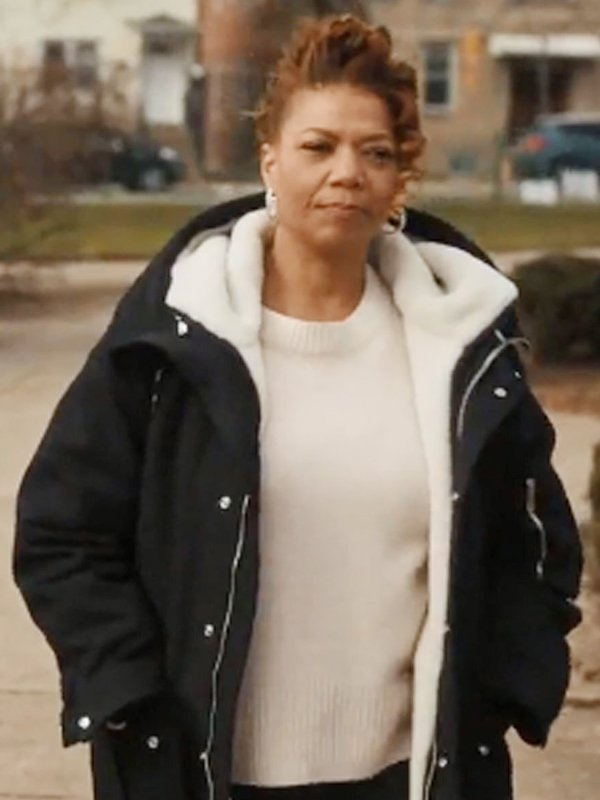 Robyn McCall The Equalizer Queen Latifah Shearling Black Hooded Coat
