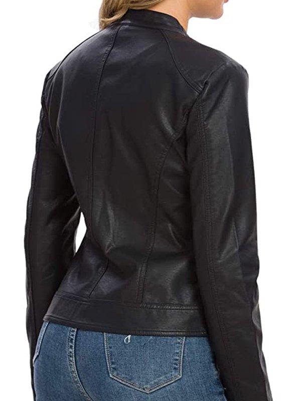 Snap Tab Black leather Jacket Women