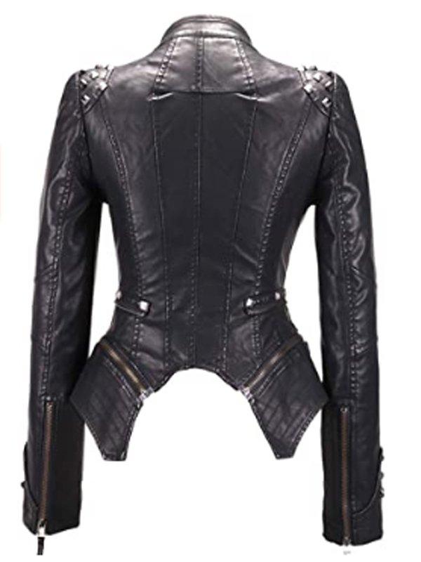 Women's Fashion Studded Black Leahter Biker Jacket