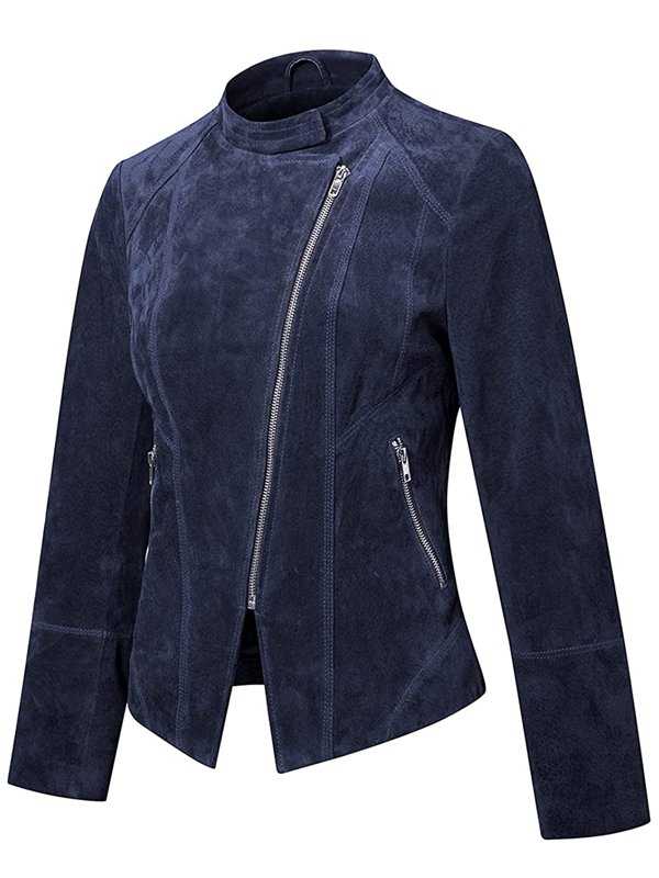 Womens Suede Leather Motorcycle Jacket