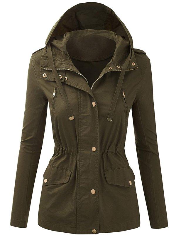 Women's Zip Up Hooded Military Jacket