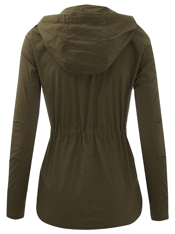 Women's Zip Up Military Green Hooded Jacket with Drawstring