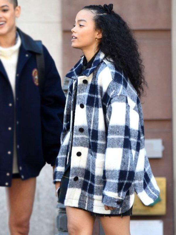 Zoya Lott Tv Series Gossip Girl Whitney Peak Checked Jacket