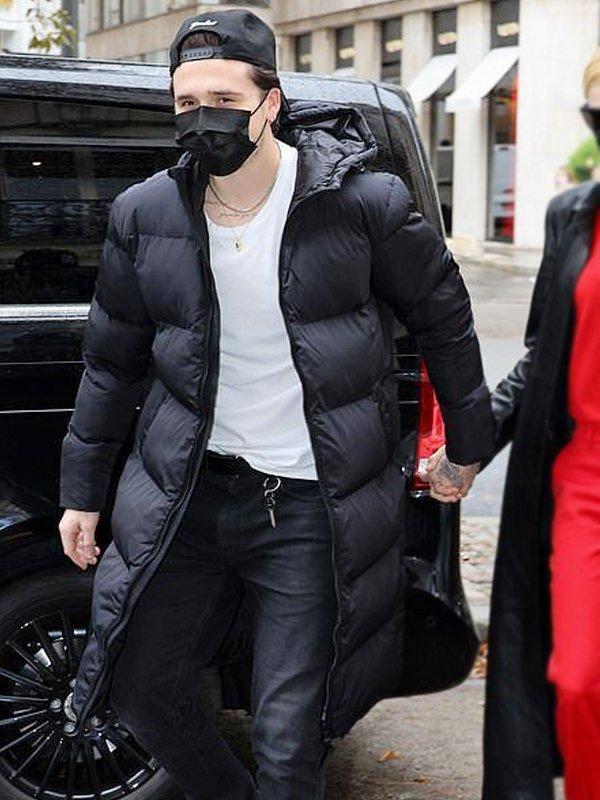 Brooklyn Beckham Long Black Puffer Coat