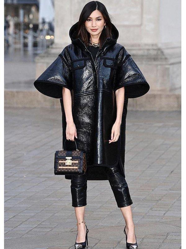 Gemma Chan Black Leather Coat