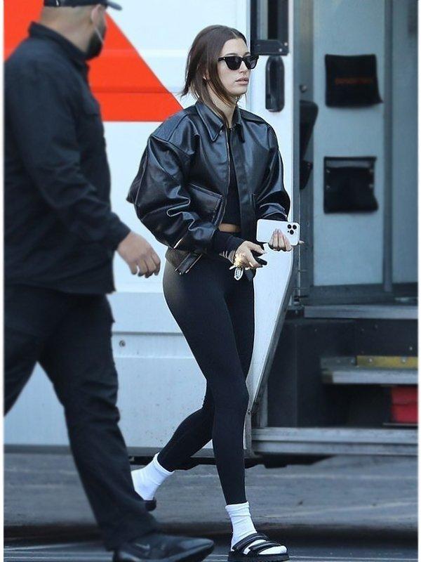Hailey Bieber Black Leather Bomber Jacket