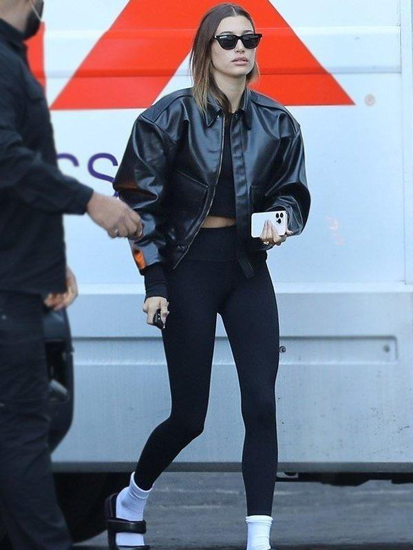 Hailey Bieber Bomber Leather Jacket