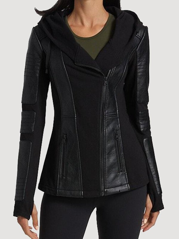 Hooded Moto Black Leather Jacket Women