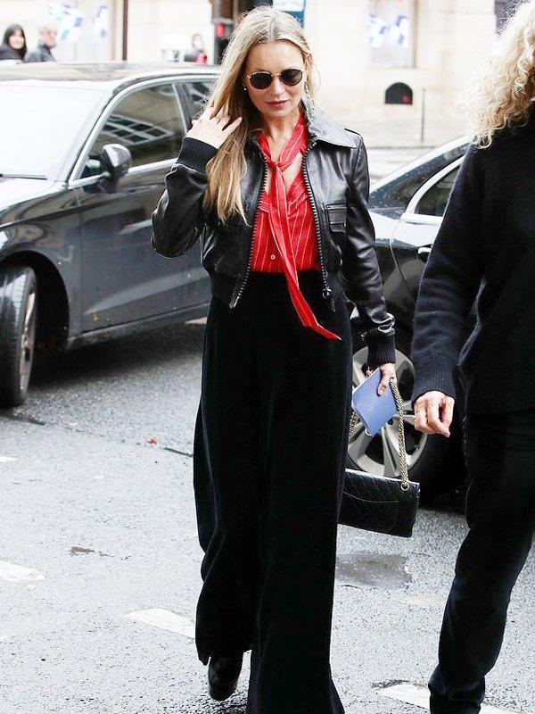 Kate Moss Black Cropped Leather Bomber Jacket