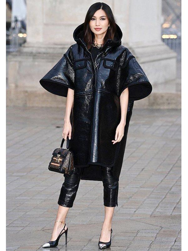 Paris Fashion Show Gemma Chan Black Leather Coat
