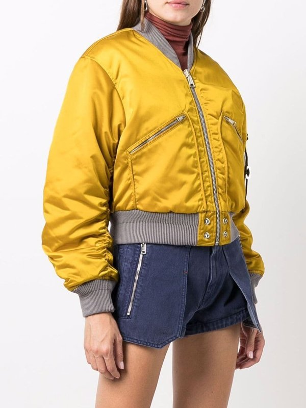 Reversible Cropped Yellow Bomber Jacket For Women