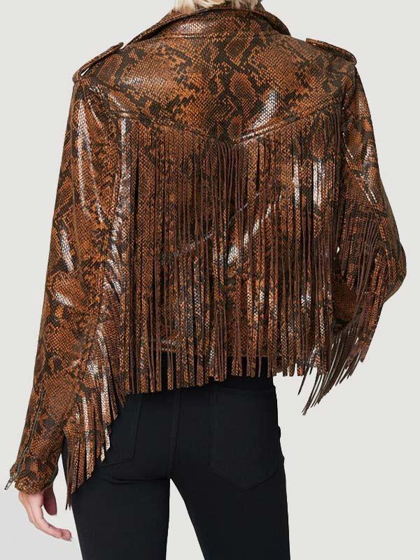 Snake Skin Brown Fring Leather Jacket Women