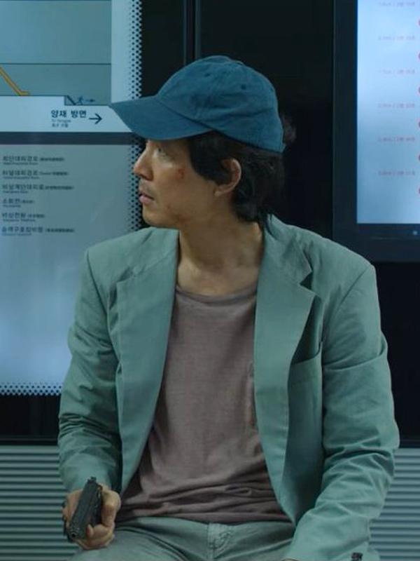 Tv Series Squid Game Gi-Hun Greg Chun Grey Cotton Blazer