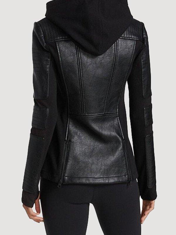 Women Black Hooded Moto Leather Jacket