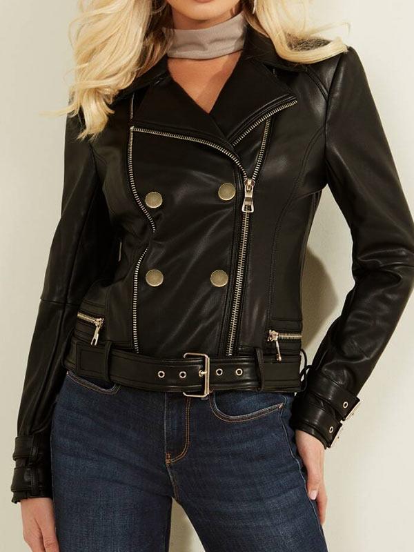 Womens Black Moto Leather Jacket