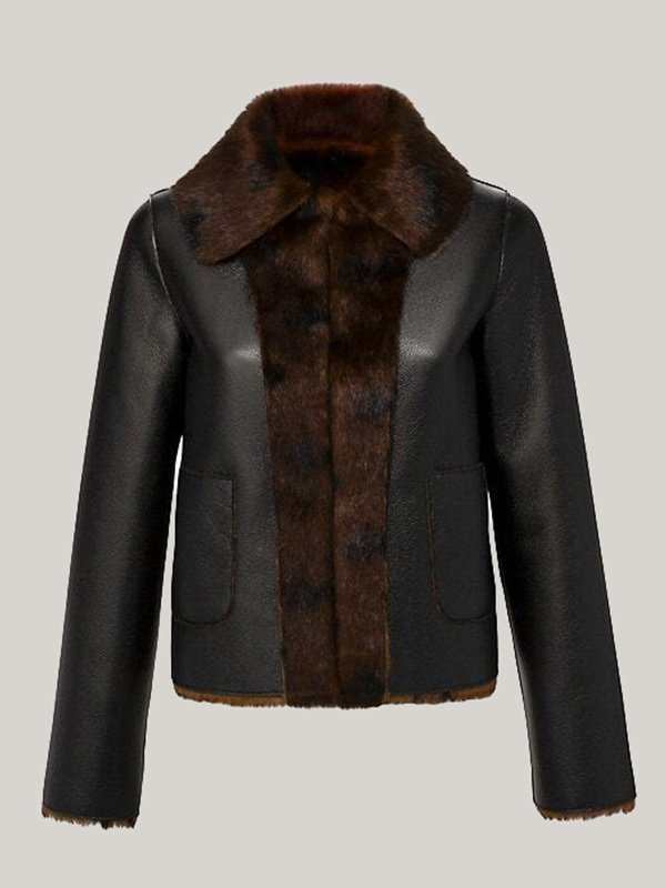 Womens Reversible Faux Leather Jacket