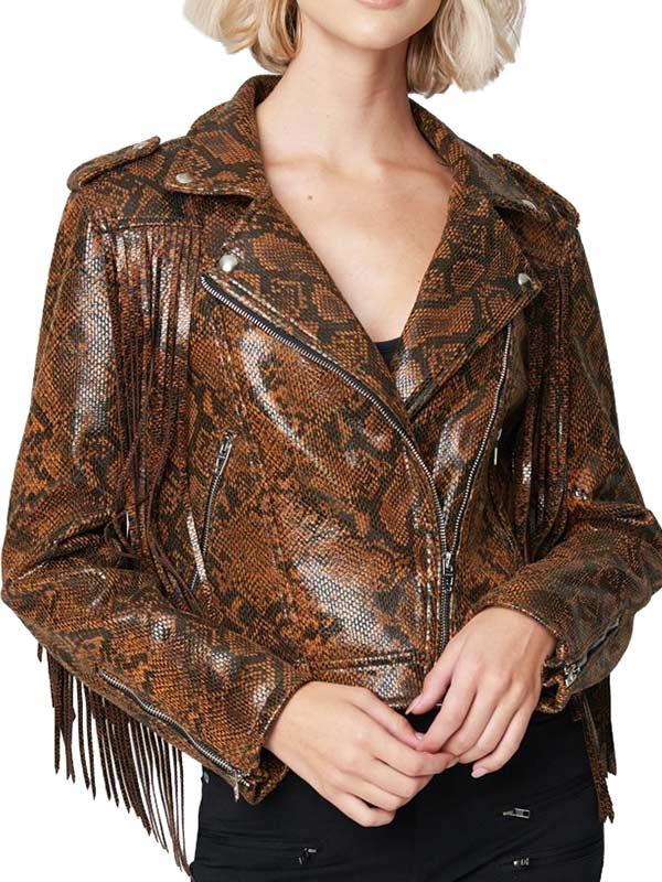 Womens Snake Skin Fringe Leather Jacket